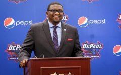 DePaul athletic director DeWayne Peevy speaks during his first press conference