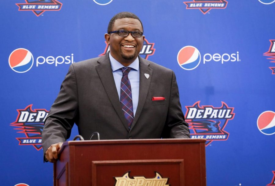 DePaul athletic director DeWayne Peevy speaks during his first press conference