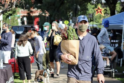 Farmers Market in Wicker Park operational with mask wearing and other Covid-19 safety procedures