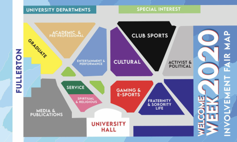 The virtual map of DePaul's quad, the usual location for the annual Involvement Fair.