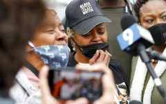 Sherrellis Sheria Stinnette, grandmother of Marcellis Stinnette, 19, speaks to the media during a protest rally for Marcellis Stinnette who was killed by Waukegan Police last Tuesday in Waukegan, Ill., Thursday, Oct. 22, 2020. Stinnette was killed and his girlfriend and mother of his child, Tafara Williams, was wounded when a police officer in Waukegan opened fire Tuesday night after police said Williams' vehicle started rolling toward the officer following a traffic stop. (Brian Hill/Daily Herald via AP)