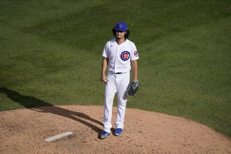 Chicago Cubs starting pitcher Yu Darvish waits on the mound after being removed during the seventh inning of Game 2 against the Miami Marlins on Friday.