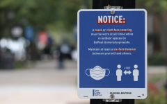 New signage of pandemic protocols are seen throughout DePaul's campus life.
