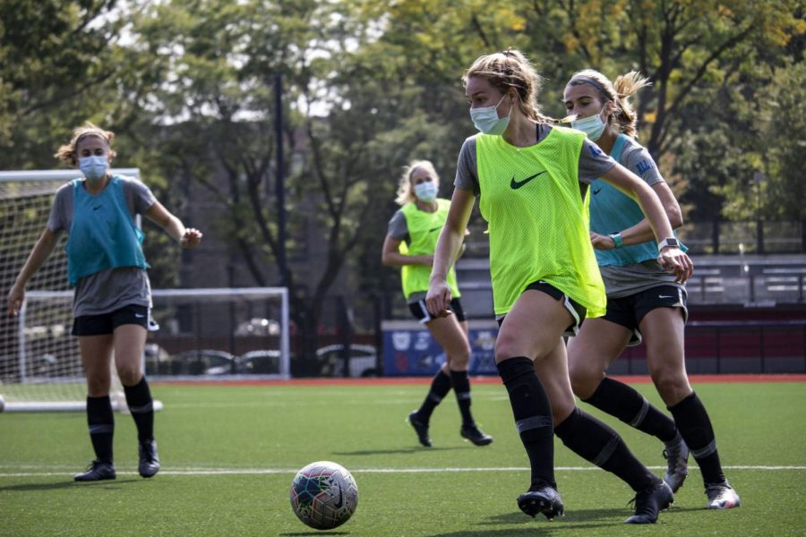 DePaul women's soccer returned to practice in August, but must wear masks during all of their workouts.