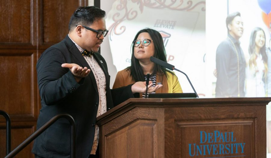 APIDA Center Coordinator Eva Long and former Assistant Director of Identity Conscious Support Programs Mark Anthony Florido speaking at Grace Lee Boggs Heritage Breakfast.