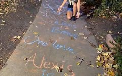 Alex Hadac, 19, kneels behind chalk art. Residents of the South Loop came together to embrace chalk art after Hadac was verbally and physically assaulted.