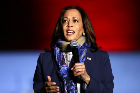 Democratic vice presidential candidate Sen. Kamala Harris, D-Calif., speaks to supporters during a campaign stop at the University of Houston Friday, Oct. 30, 2020, in Houston. (AP Photo/Michael Wyke)
