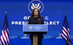 Vice President-elect Kamala Harris speaks at The Queen theater, Tuesday, Nov. 10, 2020, in Wilmington, Del. (AP Photo/Carolyn Kaster)