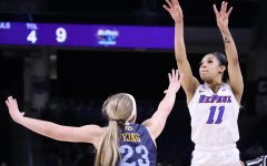 DePaul junior Sonya Morris goes up for a jump shot against Marquette on March 9.