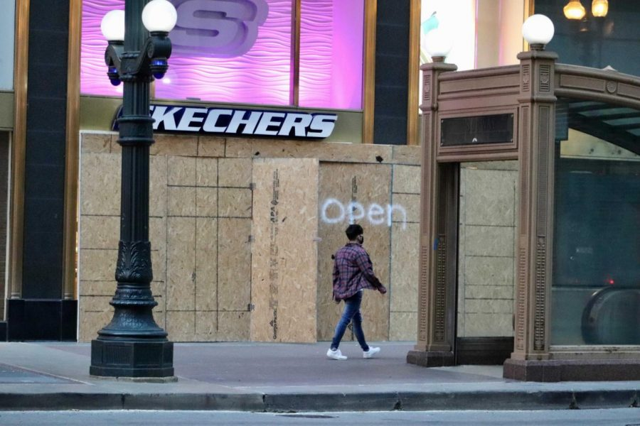 Stores in downtown Chicago have been boarded up in the event of volatile reactions to the Presidential Election.