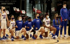 Seven DePaul players took a knee during the national anthem on Saturday at Wintrust Arena.