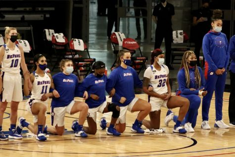 Six DePaul players took a knee during the national anthem on Saturday at Wintrust Arena.