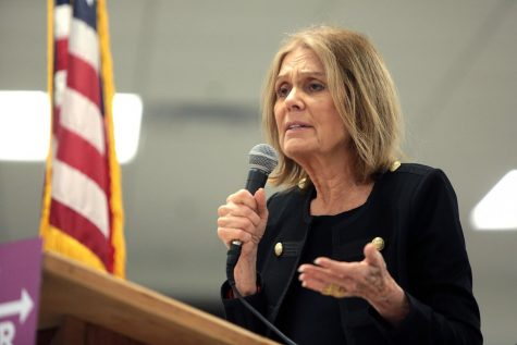 Gloria Steinem speaking with supporters at the Women Together Arizona Summit at Carpenters Local Union in Phoenix, Arizona.