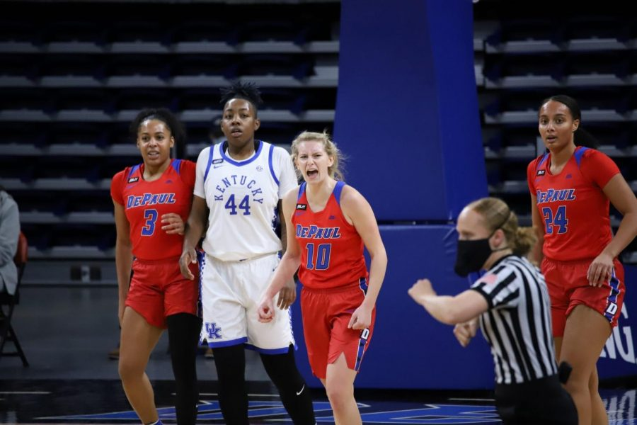DePaul junior Lexi Held celebrates during the Blue Demons' 86-82 win over Kentucky on Wednesday at Wintrust Arena.