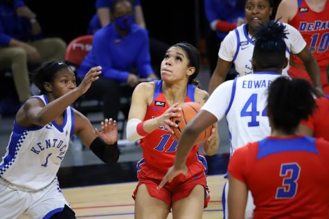 DePaul junior guard Sonya Morris goes up for a layup against Kentucky on Wednesday.