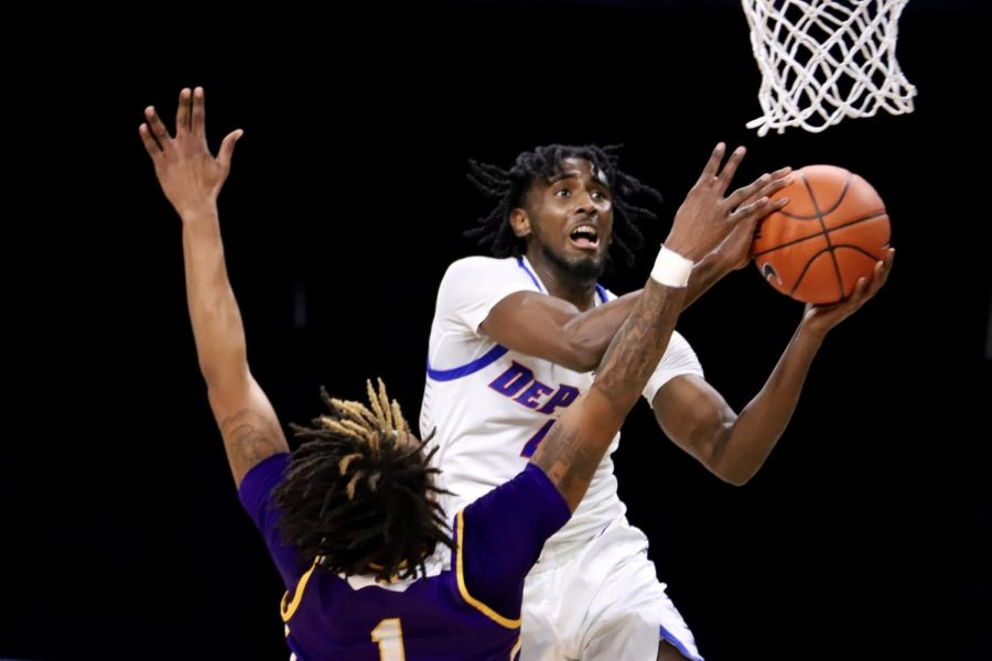 DePaul junior guard Javon Freeman-Liberty goes up for a layup against Western Illinois on Wednesday at Wintrust Arena.