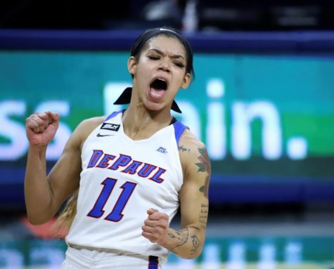 DePaul junior guard Sonya Morris celebrates after a play against Georgetown on Saturday at Wintrust Arena.