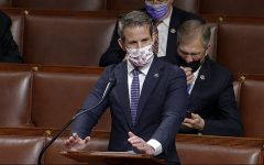In this image from video, Rep. Adam Kinzinger, R-Ill., speaks as the House debates the objection to confirm the Electoral College vote from Pennsylvania, at the U.S. Capitol early Thursday, Jan. 7, 2021. (House Television via AP)