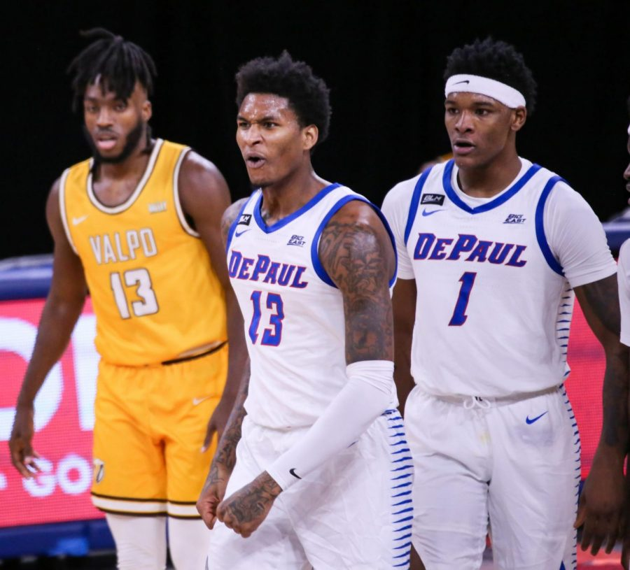 DePaul+junior+forward+Darious+Hall+celebrates+during+the+Blue+Demons%27+77-58+win+over+Valparaiso+on+Saturday+at+Winturst+Arena.
