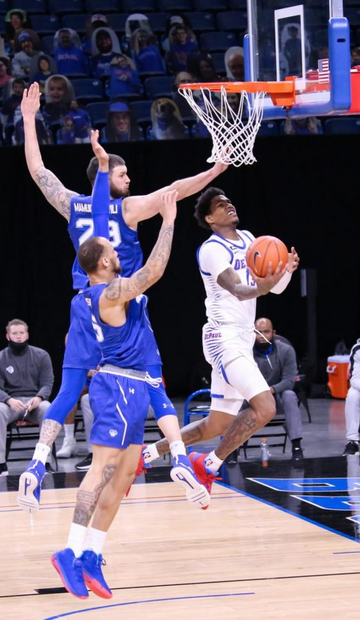 DePaul junior forward Darious Hall goes for a reverse layup against Seton Hall on Saturday at Wintrust Arena.
