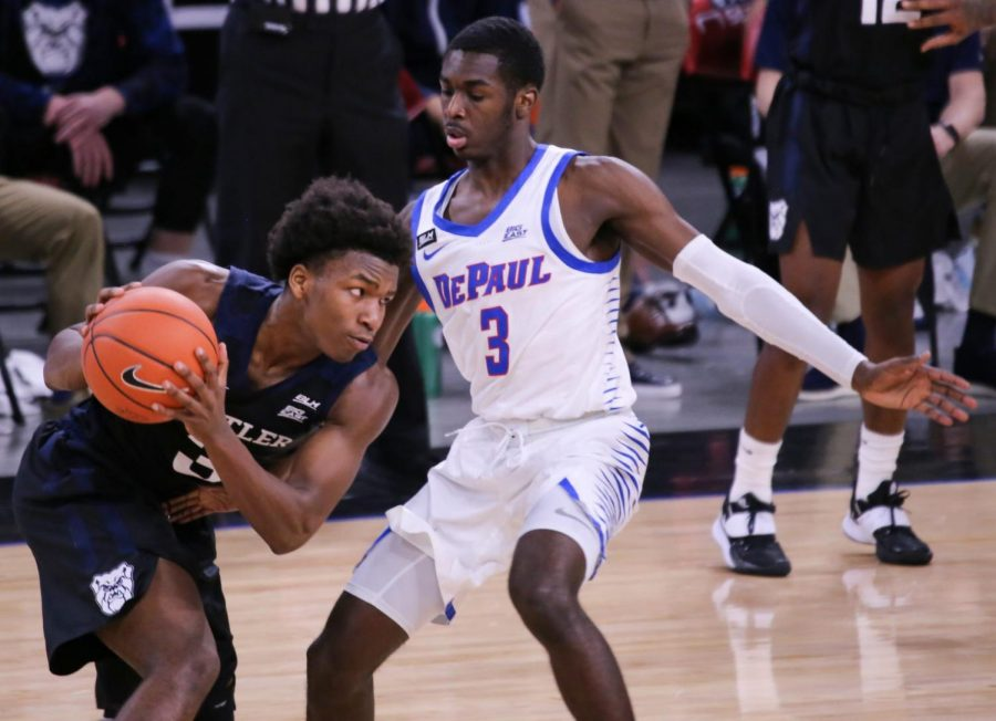 DePaul freshman guard Kobe Elvis defends a Butler player on Tuesday at Wintrust Arena.