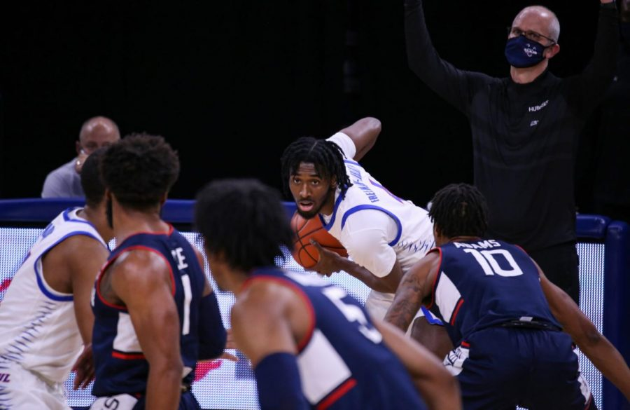DePaul+junior+guard+Javon+Freeman-Liberty+looks+for+a+pass+against+UConn+on+Monday+at+Wintrust+Arena.