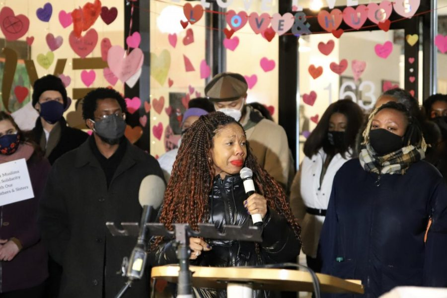 Reesheda Graham Washington, owner of Live! Cafe, tearfully speaks to crowd outside her business, which was targeted in a suspected hate crime.