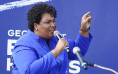 FILE - In this Nov. 1, 2020 file photo, former candidate for Georgia Governor Stacey Abrams speaks during a rally for then Democratic vice presidential candidate Sen. Kamala Harris, D-Calif., in Duluth, Ga. Belarusian opposition figures, Hong Kong-pro-democracy activists, the global Black Lives Matter movement, a jailed Russian opposition leader and two former White House senior advisers are among this year's nominations for the Nobel Peace Prize. (AP Photo/John Bazemore, File)
