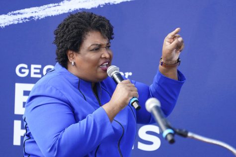 FILE - In this Nov. 1, 2020 file photo, former candidate for Georgia Governor Stacey Abrams speaks during a rally for then Democratic vice presidential candidate Sen. Kamala Harris, D-Calif., in Duluth, Ga. Belarusian opposition figures, Hong Kong-pro-democracy activists, the global Black Lives Matter movement, a jailed Russian opposition leader and two former White House senior advisers are among this year