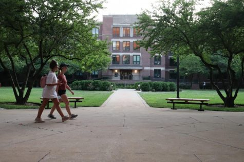 Students walk on the Quad, located on the Lincoln Park campus.