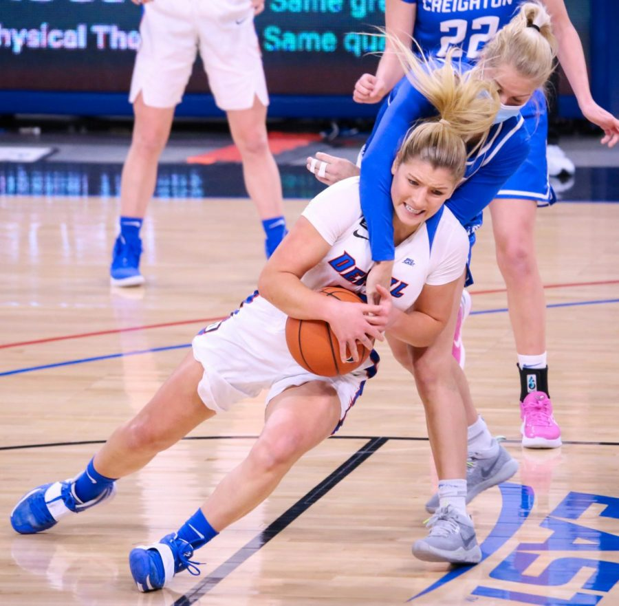 DePaul+senior+forward+Dee+Bekelja+holds+onto+the+ball+as+a+Creighton+defender+looks+to+grab+a+steal+on+Saturday+at+Wintrust+Arena.