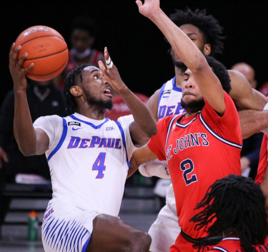 DePaul junior guard Javon Freeman-Liberty goes up for a layup during a game against St. John's at Wintrust Arena.