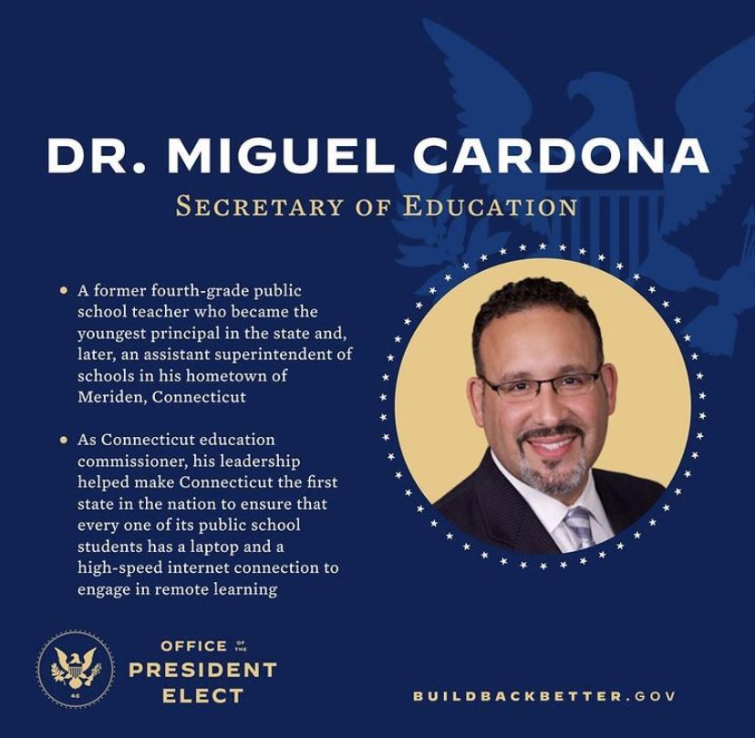 El Dr. Miguel Cardona servirá como el primer secretario de educación con experiencia de English as a Second Language (ESL).   @joebiden | Instagram