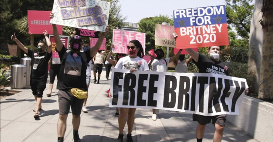 Supporters of Britney Spears protest her conservatorship, as depicted in