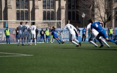DePaul junior forward Jake Fuderer takes a free-kick against Creighton on Saturday at Wish Field.
