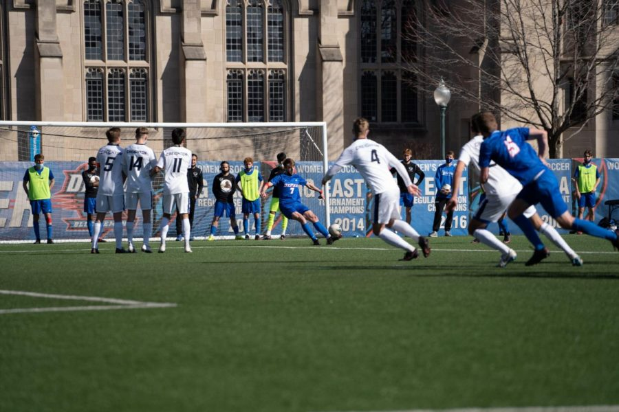 +DePaul+junior+forward+Jake+Fuderer+takes+a+free-kick+against+Creighton+on+Saturday+at+Wish+Field.