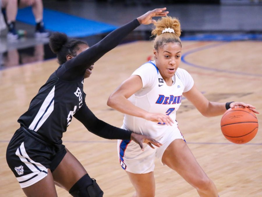 DePaul senior guard Deja Church drives to the rim during a game against Butler on Monday at Wintrust Arena.