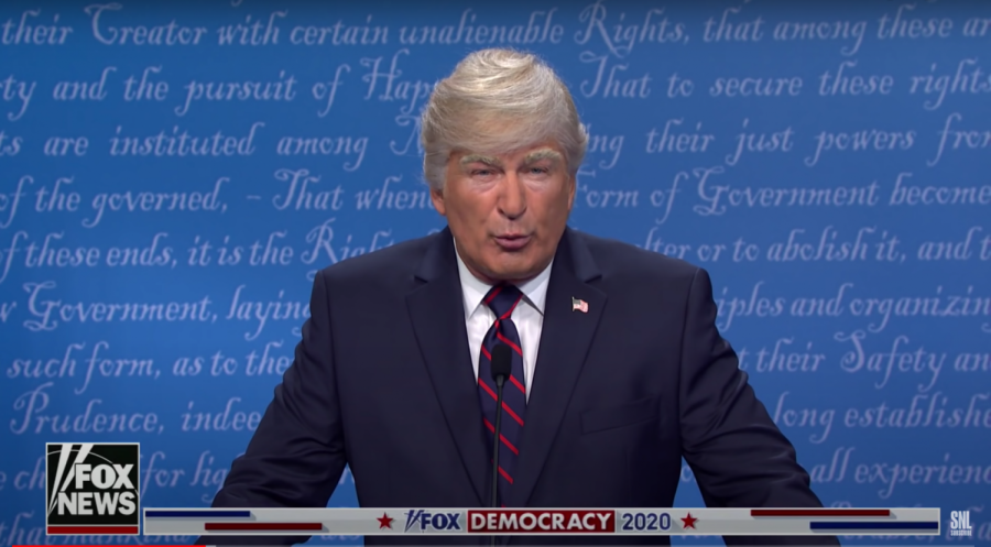 Alec Baldwin portraying then-President Donald Trump on