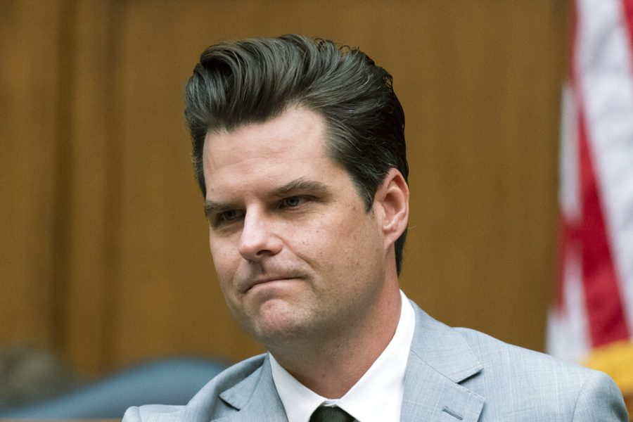 Rep. Matt Gaetz, R-Fla., questions witnesses during a House Armed Services Committee hearing on Capitol Hill, Wednesday, April 14, 2021, in Washington. (AP Photo/Manuel Balce Ceneta)