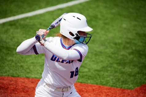 DePaul freshman Nicole Sullivan stands in the batters box during the Blue Demons series against Creighton