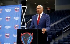 DePaul men's basketball head coach Tony Stubblefield was introduced to the media at Wintrust Arena on Wednesday.