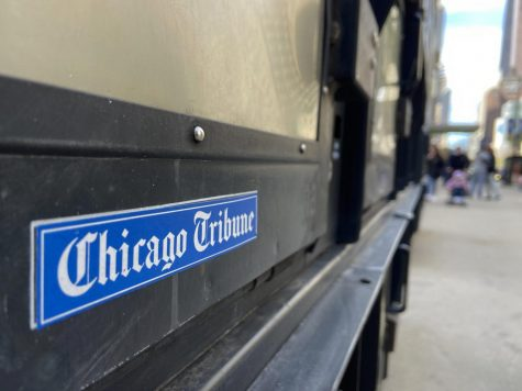 A newsstand near Tribune Tower on Michigan Avenue.