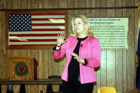 Liz Cheney speaks to a small crowd at the American Legion in Buffalo, Wyoming.