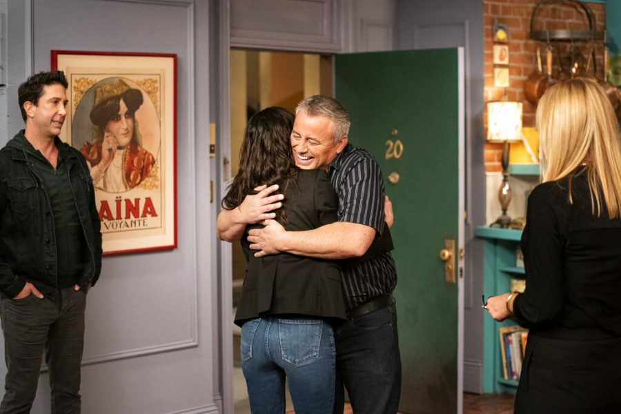 This image provided by HBO Max shows David Schwimmer, from left, Courteney Cox, Matt LeBlanc and Jennifer Aniston in a scene from the