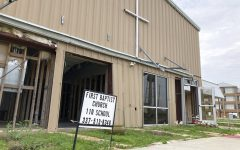 The exterior of the First Baptist Church in Cameron, La., on Sunday, May 23, 2021 shows how it was heavily damaged during Hurricane Laura last year. (AP Photo/Rebecca Santana)