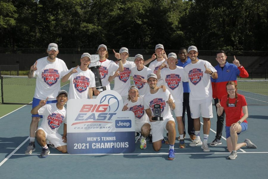 +The+DePaul+men%27s+tennis+team+celebrates+together+after+winning+the+Big+East+Tournament+April+26.+