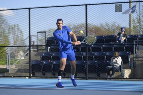 DePaul senior Luke Wassenaar gets ready to hit the tennis ball during a match against Illinois on Friday. The Blue Demons lost 4-1 in the first round of the NCAA Tournament.