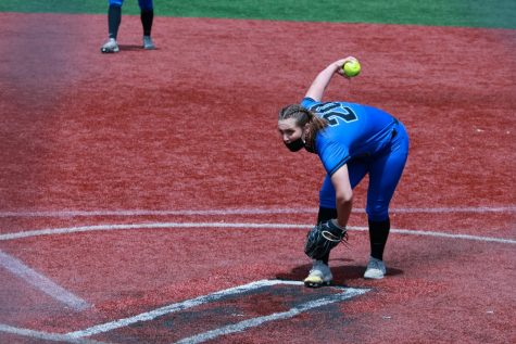 DePaul senior Krista Dalgarn gets ready to deliver a pitch against Butler on May 8. The Blue Demons swept the Bulldogs.