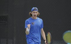 DePaul junior Vito Tonejc fists pumps after winning a point during the 2021 Big East Tournament.