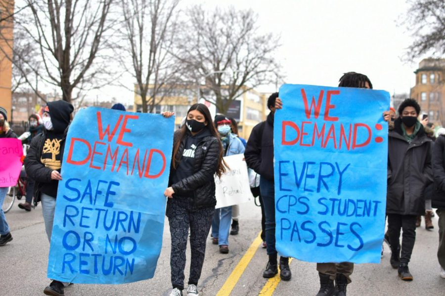 FILE-Students from Chicago Student Pandemic Response,GoodKidsMadCity and other groups toured Wabash Avenue in Bronzeville to advocate against reopening schools in the coming weeks. Chicago Public Schools is expected to welcome K-8 students on February.